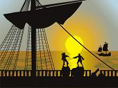 pirates background. Vector illustration.