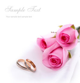 image of pink rose  - wedding rings and pink roses - JPG