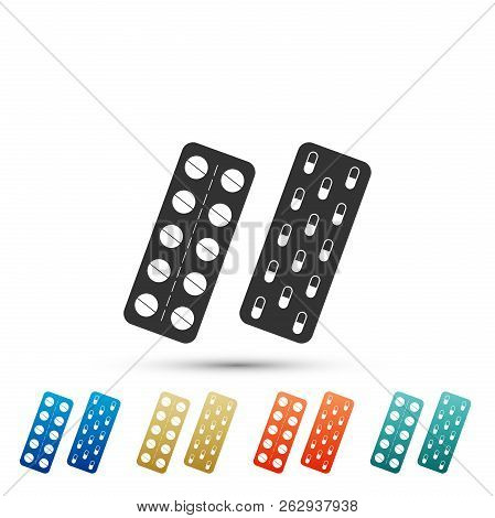 poster of Pills Or Capsules In Blister Package Icon Isolated On White Background. Tablets In Package. Medicati