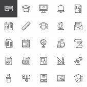 University Education Outline Icons Set. Linear Style Symbols Collection, Line Signs Pack. Vector Gra poster