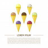 Vector Cartoon Ice Cream Background poster