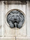 Wall fountain with lion bas-relief