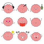 Funny Strong, Healthy And Smart Brain. Brains Emotions Vector Cartoon Characters Set. Illustration O poster