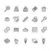 Sweet Food Flat Line Icons Set. Pastry Vector Illustrations Lollipop, Chocolate Bar, Milkshake, Cook poster