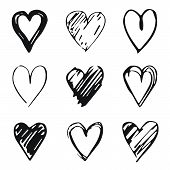 Hearts Icon Set, Hand Drawn Doodle Sketch Style. Outline And Shape Handdrawn Illustrations By Brush, poster