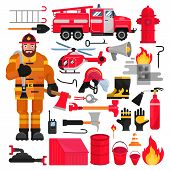Firefighter Vector Firefighting Equipment Firehose Hydrant And Fire Extinguisher Illustration Firefi poster