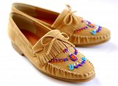 DIY Beadwork on leather shoes (shallow depth of field)