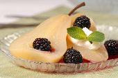 Bartlett Pear Poached In Wine With Blackberries