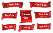 Sale Ribbons. Red Ribbons Price Badges Isolated On White Background, Glossy Cheap Sales Tags Collect poster