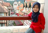 Little Muslim Girl at the balcony of Colmar Tropicale