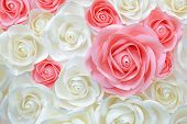 Large Giant Paper Flowers. Big Pink, White, Beige Rose, Peony Made From Paper. Pastel Paper Backgrou poster