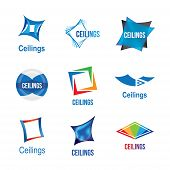Set Of Logos For Ceilings, Tiles And Stretch Ceilings poster