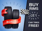 Realistic Car Tires As Present To Buying Rims Ad Poster With Racing Flag Vector Illustration poster
