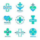 Health Symbols. Medical Signs For Logo Clinic Healthcare Design Cross Plus Vector Pictures Isolated. poster