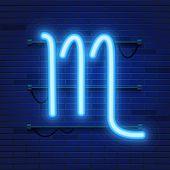 Blue Shining Cosmic Neon Zodiac Scorpio Symbol On Brick Wall Background. Astrology Concept. Vector I poster