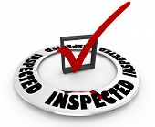 Inspected Approved Inspection Pass Check Mark Box Word 3d Illustration poster