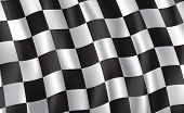 Car Race Or Motorsport Rally Flag. Vector Checkered 3d Wavy Pattern Background Of Racing Sport, Bike poster