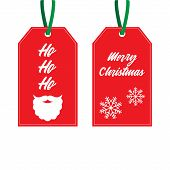 Christmas Gift Tags Vector Graphic Illustration. Xmas Red, White And Green Gift Tags, Labels With Wr poster