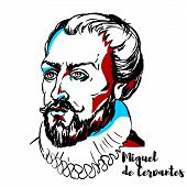 Miguel De Cervantes Portrait poster