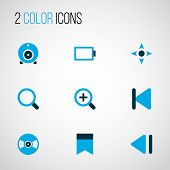 Media Icons Colored Set With Slow Backward, Controller, Bookmark And Other Previous Elements. Isolat poster