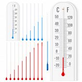 Vector Set Of Realistic Liquid Thermometers With Celsius And Fah poster