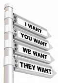 The Coincidence Of Desires. Concept. Road Sign With Text - I Want; You Want; We Want; They Want. Iso poster