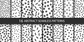 Set Of Vector Abstract Seamless Patterns With Different Shapes. Collection Of Patterns In The Memphi poster