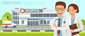 Clinic Building. Doctors And Nurse Standing In Front Of Hospital Building With Ambulance. Medicine D poster