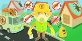 Pest Control Horizontal Banner Concept Terminate. Cartoon Illustration Of Pest Control Terminate Hor poster