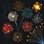 Fireworks Set Colorful Explosions Lights. Realistic Illustration Of 10 Fireworks Colorful Explosions poster