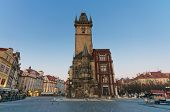The Old Town Square with Old Town Hall Clock Tower in the center, Prague, Czech Republic