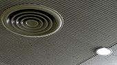 Air Duct On Ceiling In The Mall Or Hospital. Air Conditioner Install On Gypsum Ceiling Near Ceiling  poster