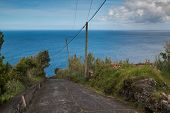 Old Coutry Road Down The Hill, Lined By Vegetation. Horizon Of Atlantic Ocean. Blue Sky With Some Cl poster