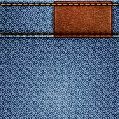 Jeans texture with leather label. Vector eps10 background