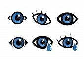 Eye Icon - Symbol. Flat Eye Sign Vector. Eye With Eye Drop poster