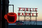 Pike street market at sunset