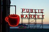 Pike street market at sunset