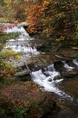 Fall shot of a babbling stream in Hocking Hills, Ohio; shot with a small aperture to blur the water motion