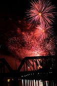 Fireworks in Columbus, Ohio along the Scioto River