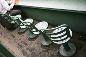 Seats in the Green Monster area of Fenway Park baseball stadium in Boston