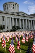 Columbus, Ohio statehouse with the lawn full of flags for Patriot's Day on 9/11