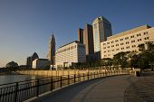 Columbus cityscape along the Scioto Mile by the Scioto River