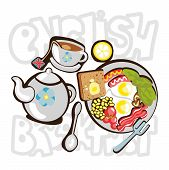 English Breakfast Cartooning Illustration. English Breakfast Fun Objects, Icons With Deroration Elem poster