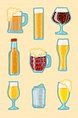 Craft Beer Icon Set. Hand Drawn Set Of Craft Beer Icons For Web Design poster