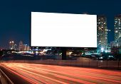 Billboard Street On Light Trails For Outdoor Advertising Poster Or Blank Billboard At Night Time For poster