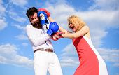 Attack Is Best Defence. Couple In Love Fighting. Defend Your Opinion In Confrontation. Man And Woman poster