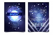 Electro Sound Party Music Poster. Electronic Club Deep Music. Musical Event Disco Trance Sound. Nigh poster