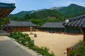 stock photo of seoraksan  - The yard of the Buddhist Sinheungsa Temple in Seoraksan National Park - JPG