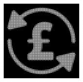 Halftone Pixelated Refresh Pound Balance Icon. White Pictogram With Pixelated Geometric Pattern On A poster