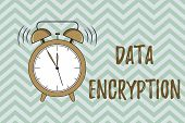 Handwriting Text Writing Data Encryption. Concept Meaning Symmetric Key Algorithm For The Encrypting poster
